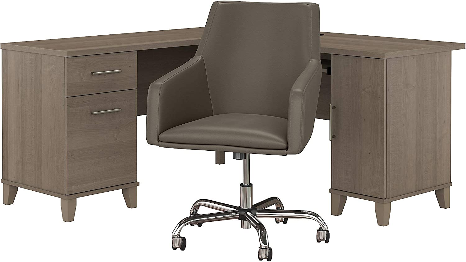 Bush Furniture Somerset L Shaped Desk with Mid Back Leather Box Chair, 60W, Ash Gray