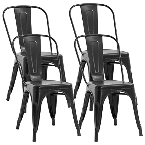 Metal Chair Dining Chairs Set of 4 Patio Chair 18 Inches Seat Height Dining Room Kitchen Chair Tolix Restaurant Chairs Trattoria Bar Stackable Chairs Metal Indoor Outdoor Chairs