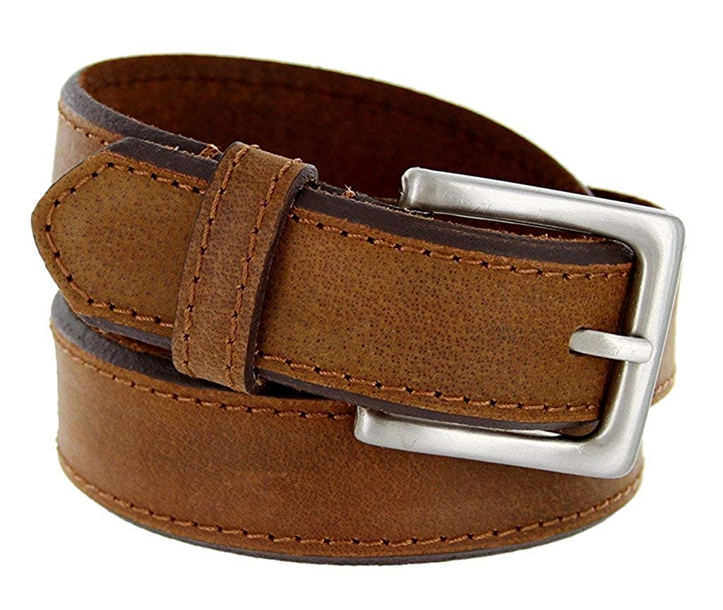 Pele Belt Men 35 mm Wide Genuine Leather Waxed White Stitches Nickel Buckle