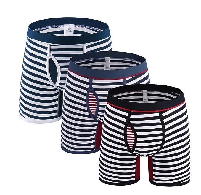 Tuopuda Bóxer para Hombre Calzoncillos Ropa Interior Boxer Hombre Largo Algodon Rayas Pack de 3 (