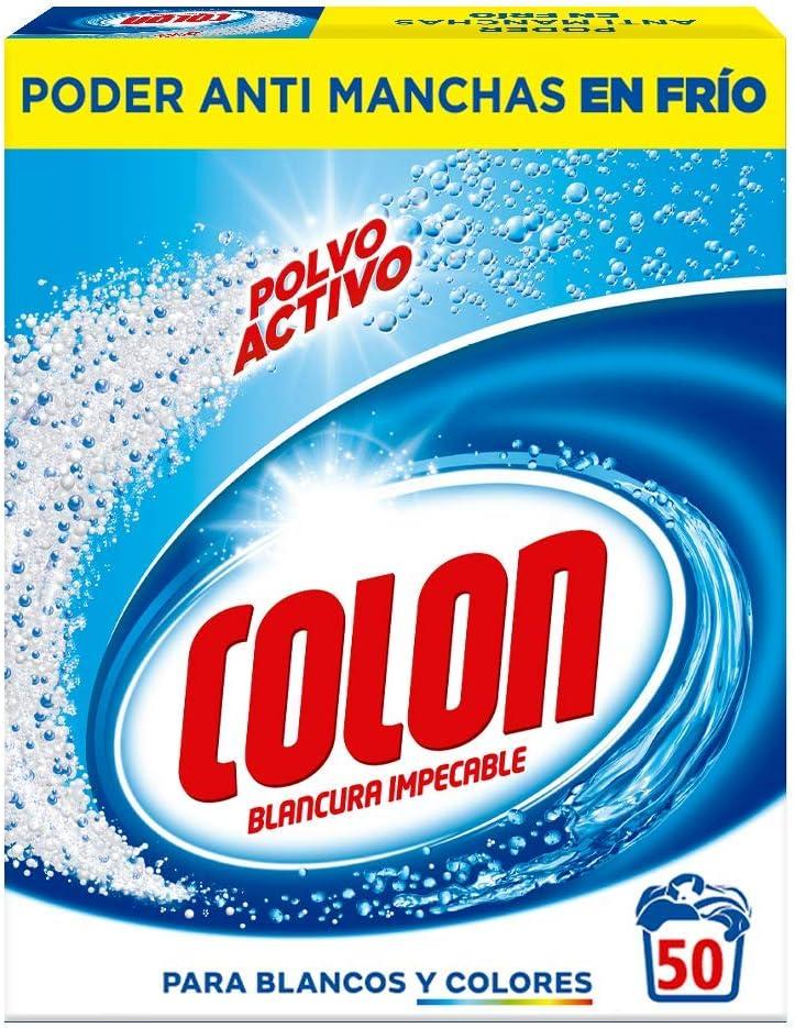 Colon Polvo Activo - Detergente para Lavadora, adecuado para Ropa Blanca y de Color, Formato Polvo - 50 dosis: Amazon.es: Salud y cuidado personal