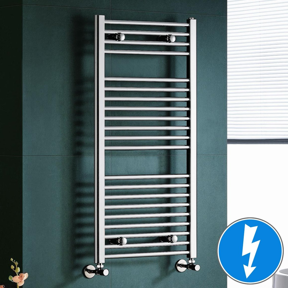 Bathroom heated towel radiators - Maine Chrome Straight Electric Towel Rail Radiator 10 Ibathuk Amazon Co Uk Diy Tools