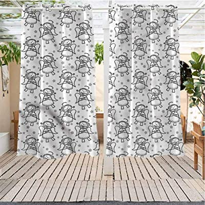 Indoor Outdoor Curtains Gazebo Outdoor Window Panels Christmas Decoration Angel Xmas Winged Girl Stars Pergola Indoor Outdoor Waterproof (52W X 45L) : Garden & Outdoor