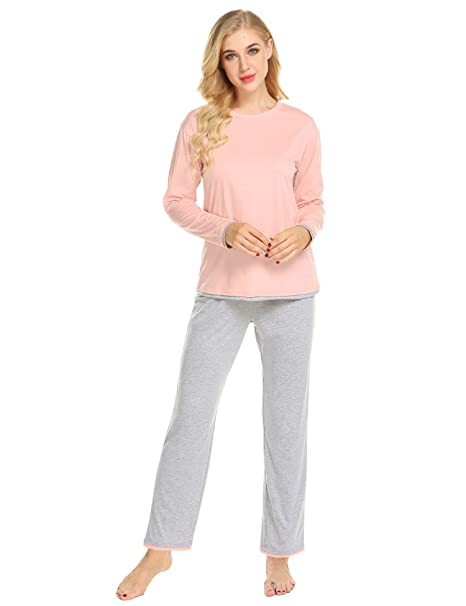 01cc625ce71 Ekouaer Pajamas Womens Long Sleeve Sleepwear Round Neck Soft Pj Sets ...