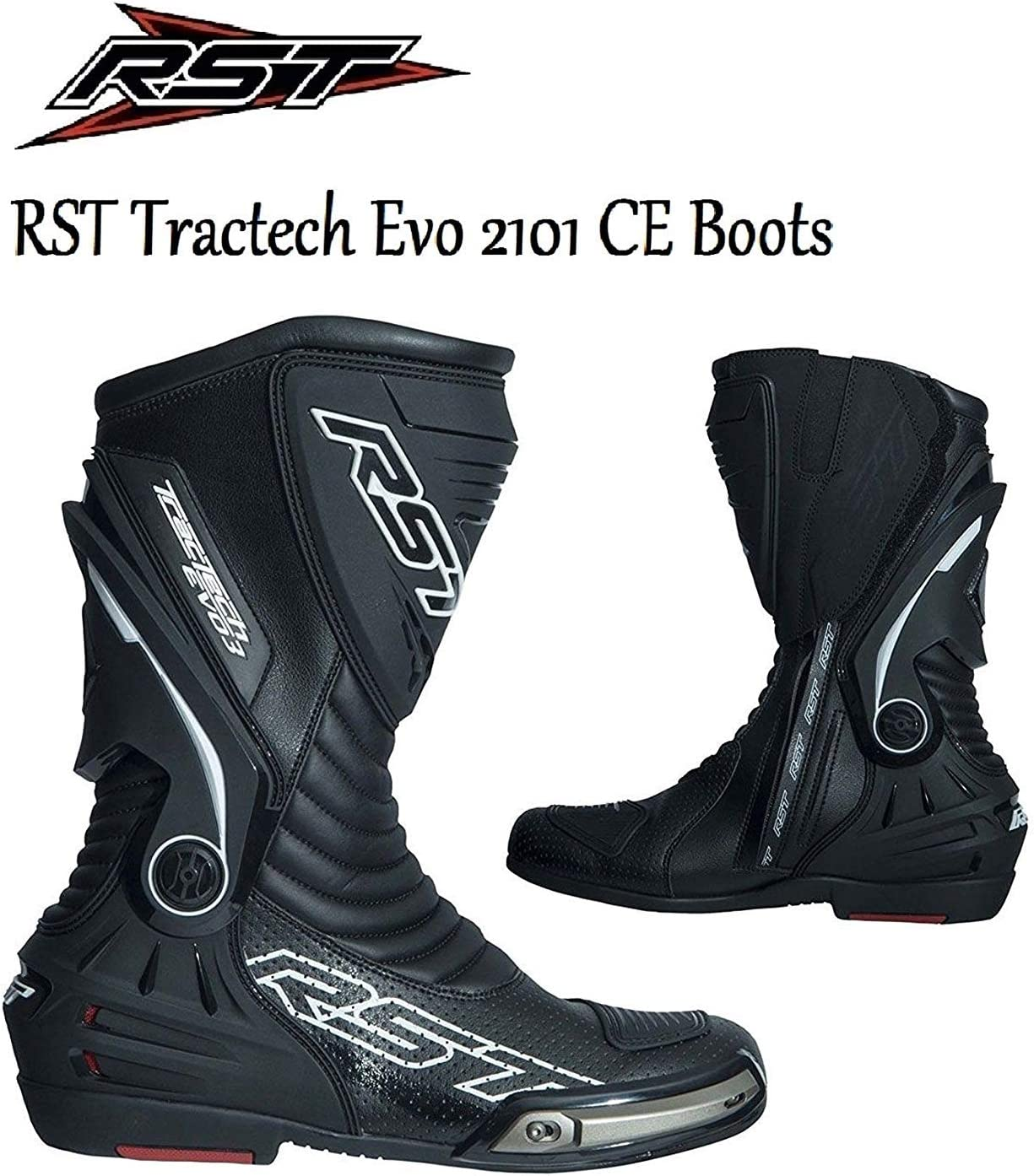 RST 2101 TRACTECH EVO III MOTORBIKE ADULT SPORTS BOOTS Men Women Motorcycle Motocross On-Road Moto GP Track Racing Touring CE Approved Boots Black