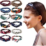 12Pcs Headbands for Women, Hair Bands Elastic Knotted Head Wraps, Vintage Flower Printed Criss Cross Hair Accessories for Women Girl