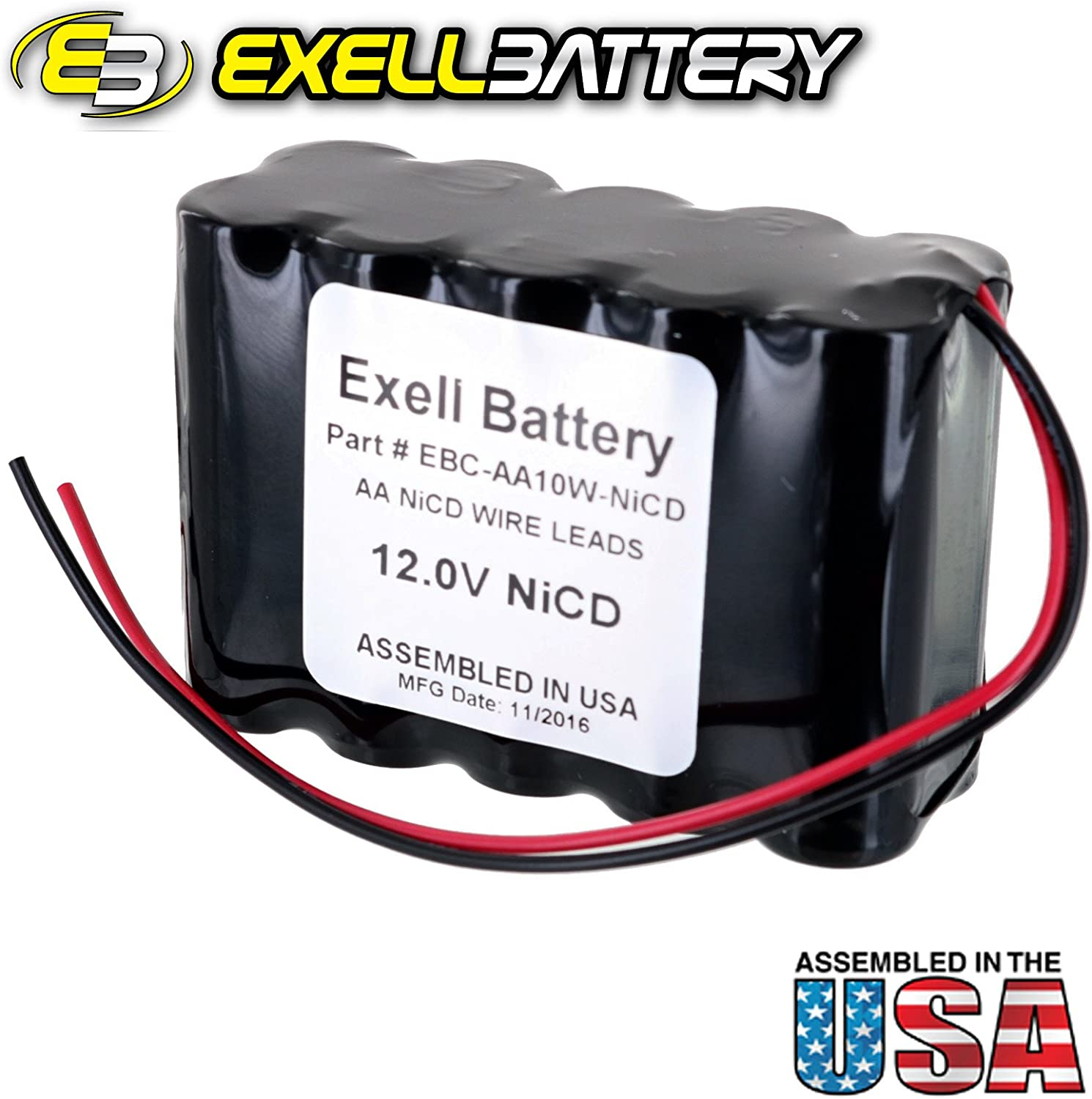 NiCd Battery Pack w//Wire Leads 2pc Exell 12V 1000mAh 10xAA