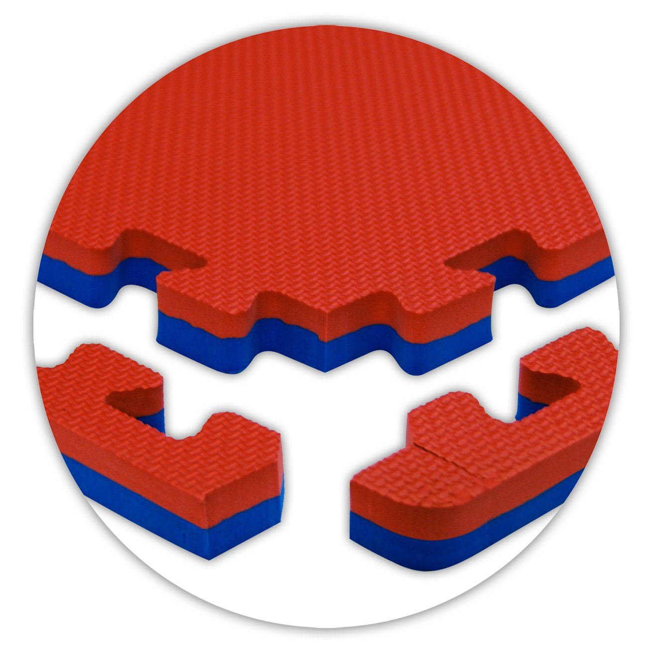 American Floor Mats Jumbo Reversible 7/8'' Thickness Red/Blue 6' x 10' (Set 15 Tiles Total) SoftFloors Interlocking Tiles