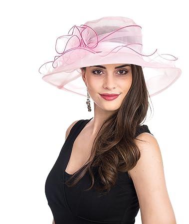 e109d60a35c42 SAFERIN Women s Organza Church Kentucky Derby Fascinator Bridal Tea Party  Wedding Pink Hat