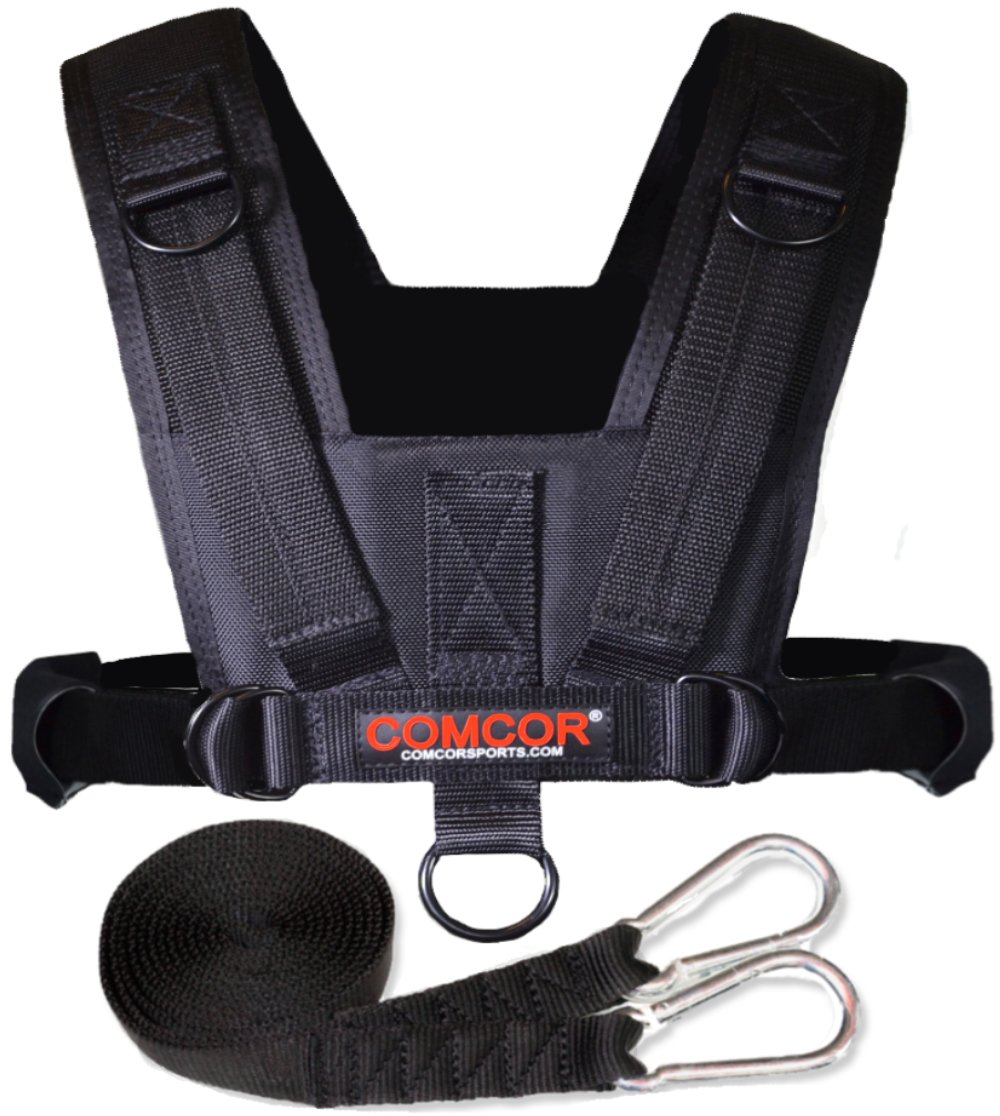 ComCor Pro Sled Harness - Adult Size - Includes 9' Pull Strap - Pulls Forward and Backward