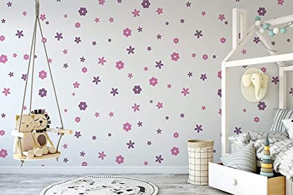 Amazon.com: Set Of 100 Flower Wall Stickers - Flower Wall ...