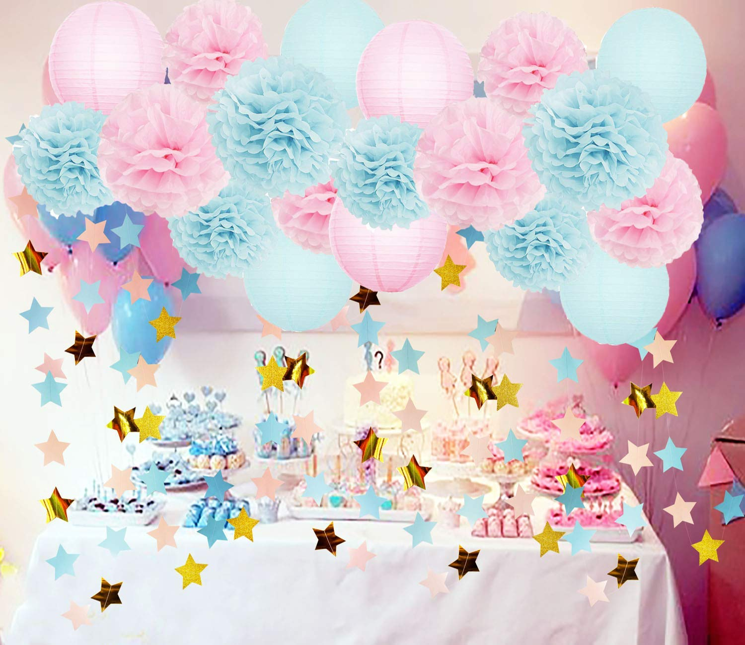 Gender Reveal Party Supplies Baby Shower Decorations Baby Blue Pink Tissue  Paper Pom Pom Flowers Paper Lanterns Pink Blue Gold Star Garland for Pink  and ...