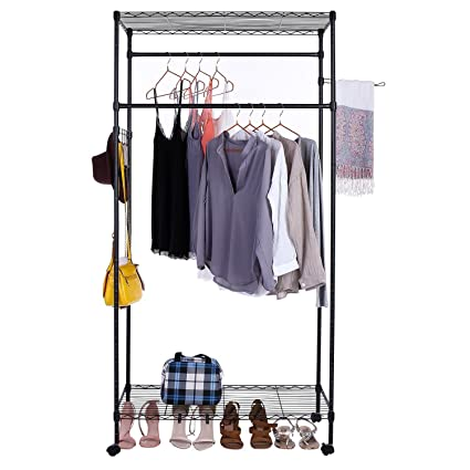 Amazon.com: Evokem Portable Adjustable Sturdy Rolling Garment Rack