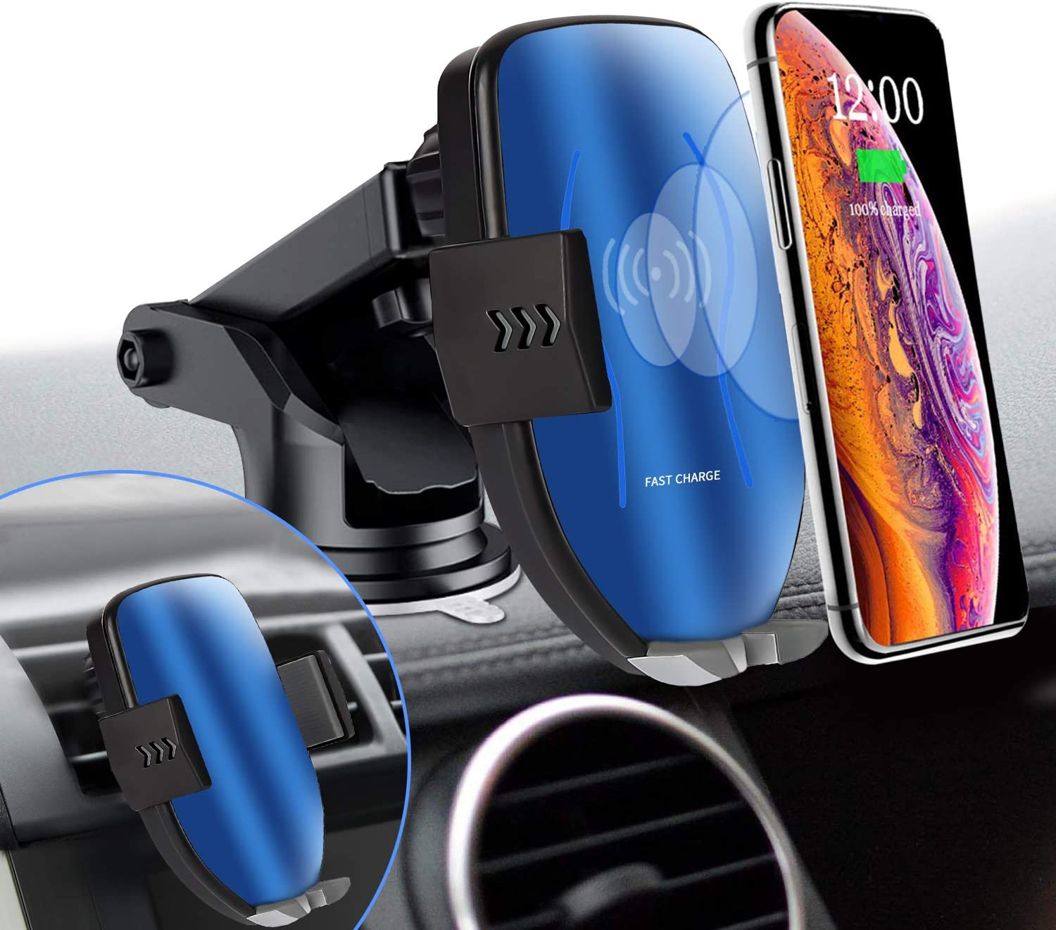 Wireless Car Charger Mount VIOY Windshield Dashboard /& Vent Car Phone Holder Qi Car Charger Auto-Clamp 10W//7.5W Fast Charging