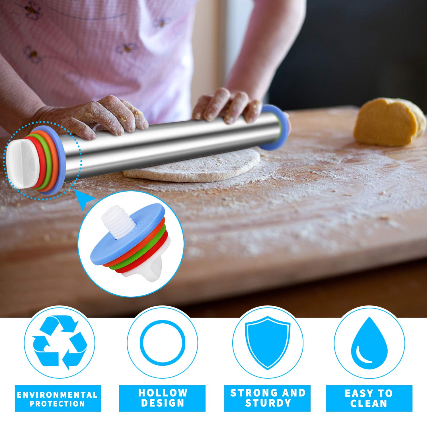 Winkeyes Stainless Steel Rolling Pins, with 4 Adjustable Discs Ring, Non-Stick Rolling Pin for Fondant, Baking Dough Pizza Pie Cookies and Pastry Cookies by Winkeyes (Image #7)