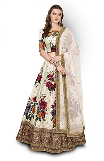 7e8f02681 ShreeBalaji Enterprise Women s Silk Embroidered Floral Print Semi-Stitched  Lehenga Choli (Zel-SBE-01
