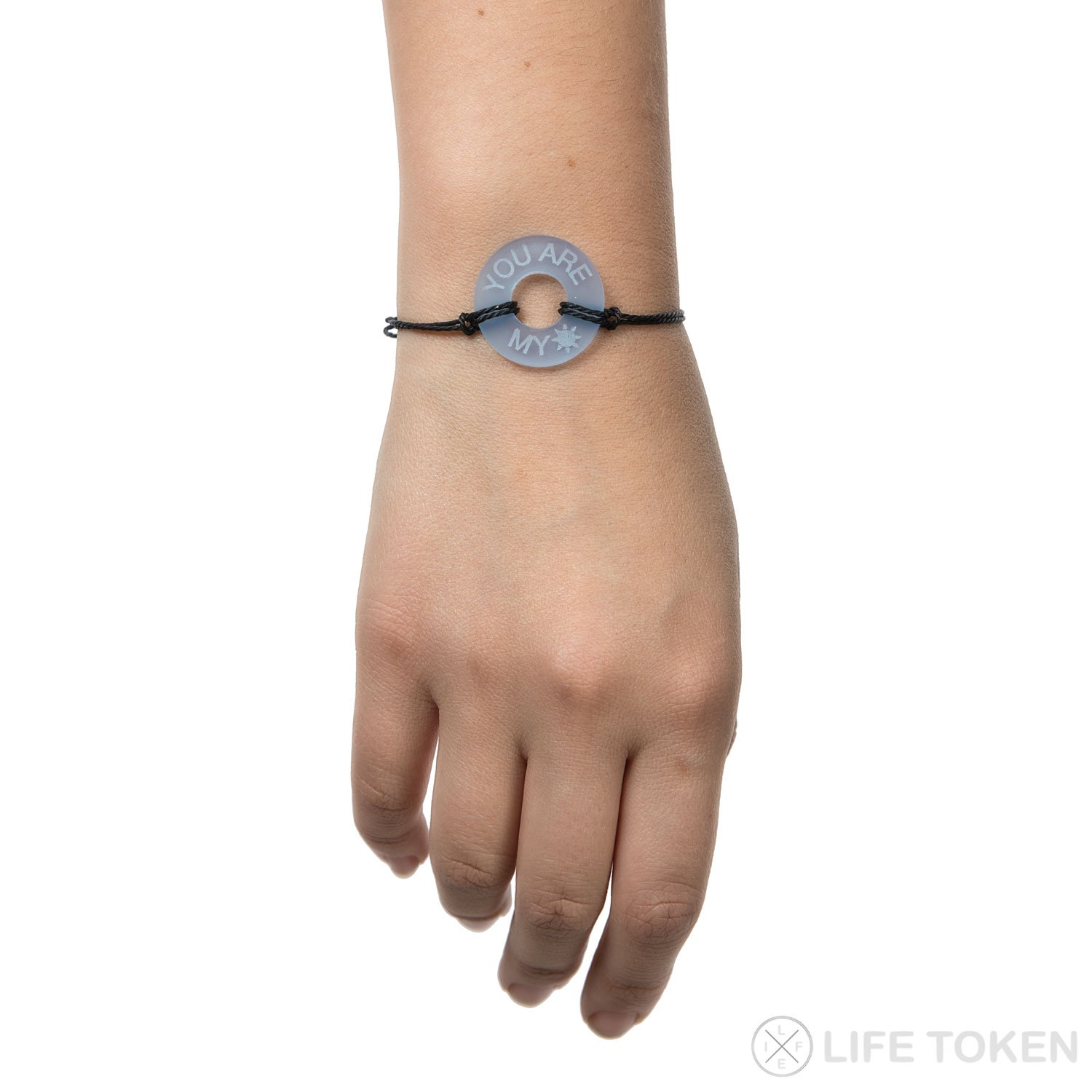 Life Token Custom Handmade Personalized Engraved Message You are My Sunshine Novelty Jewelry Bracelet for Both Men and Women (Blue Token with Black String) by Life Token (Image #2)