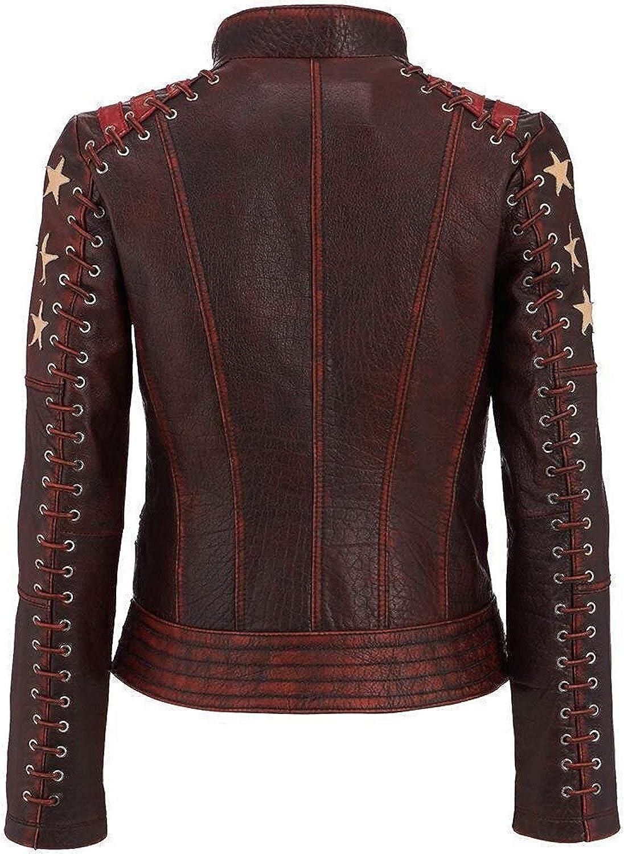 Medium Size Vintage Womens Red Genuine Leather Vest