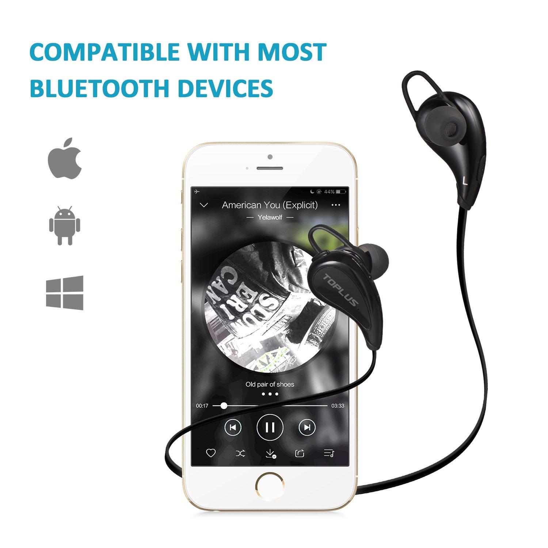 Sport Kopfhörer Bluetooth In Ear Kopfhörer, TOPLUS In Ear Hifi Stereo Bluetooth Ohrhörer inklusive Mikrofon für iOS- und Android Smartphones usw (Schwarz)