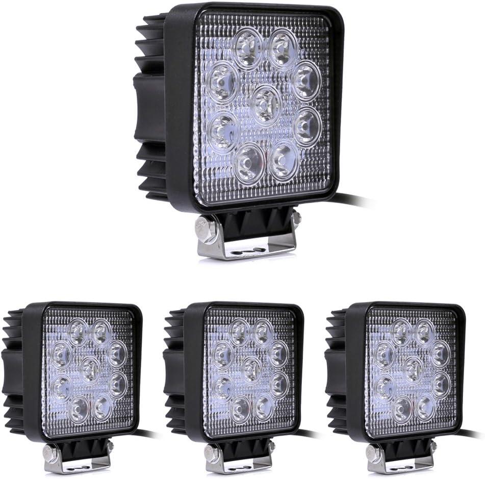 Leetop 27W LED Luces de Trabajo inundaci/ón Offroad l/ámpara de conducci/ón Niebla para cami/ón Coche 4 x 4 Tractor inundaci/ón Haz 12V 24V 27.00 wattsW,24.00 voltsV