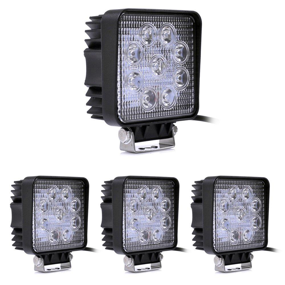 SLPRO Lot de 4 lampes de travail/projecteurs de voiture Classe é nergé tique A + 12 V 24 V Leetop 27W-4er-31