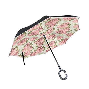 DragonSwordlinsu - Paraguas invertido de doble capa con diseño de rosas rosas rosas para coche y
