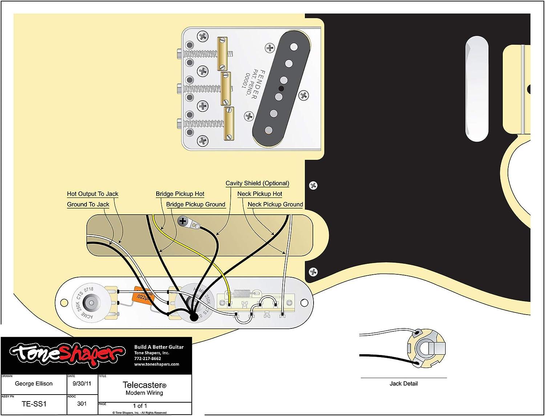 ToneShaper Guitar Wiring Kit SS1 Modern Wiring For Fender Telecaster
