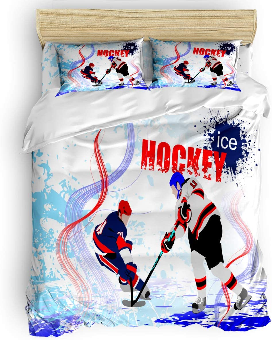 Amazon Com Teather 3 Piece Bedding Sets Ice Hockey Players Cartoon Skating Rink Backdrop Comforter Set Duvet Cover Pillow Cases For Childrens Kids Teens Adults Queen Size Home Kitchen