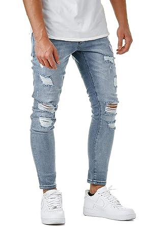 guter Verkauf einzigartiger Stil unverwechselbares Design EightyFive Herren Jeans-Hose Blau Destroyed Denim Slim Fit Stretch Basic  EFJ3792