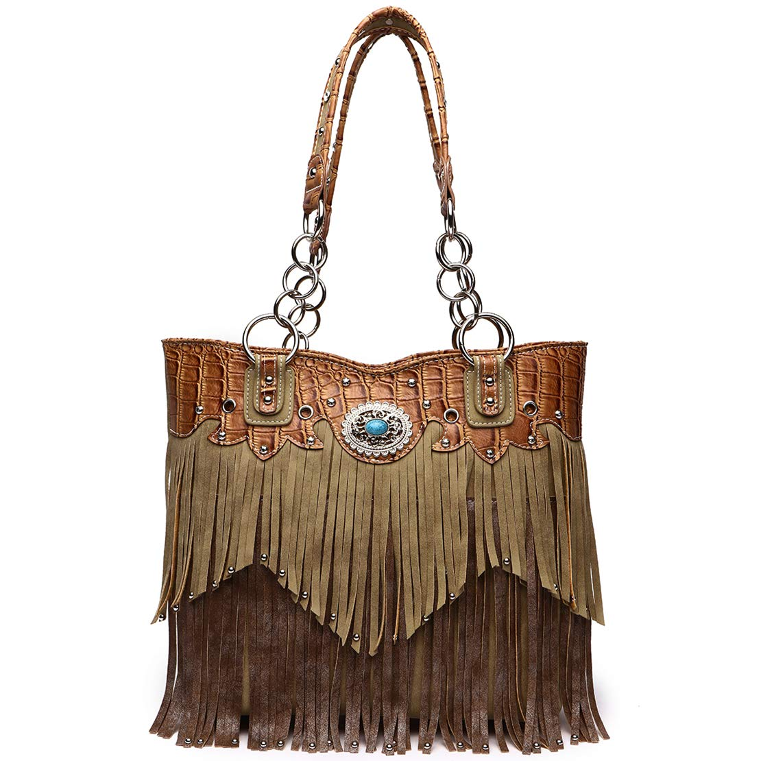 Western Style Fringe Handbag Concealed Carry Purse Country Large Tote Conchos Purse Women Shoulder Bag (Tan)