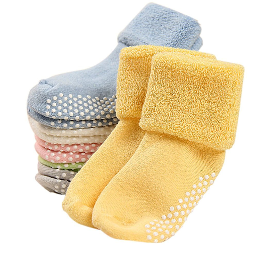 CHIC-CHIC 6 Pairs Toddler Newborn Baby Socks Anti Slip Thick Warm Soft Ankle Socks colorful)