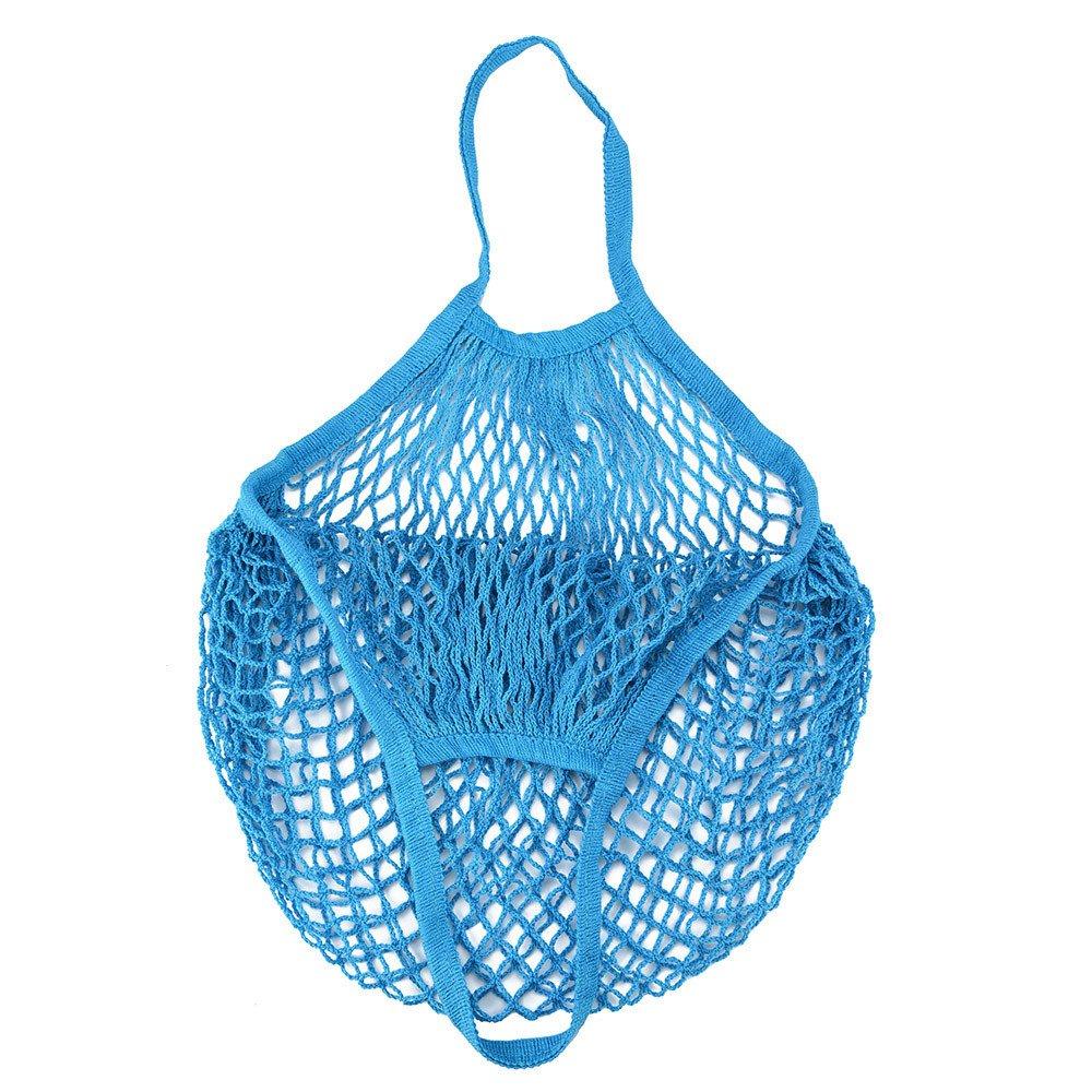 Solid Mesh Bag,Fashion Shopping Bag Reusable Fruit Storage Handbag Totes (F)