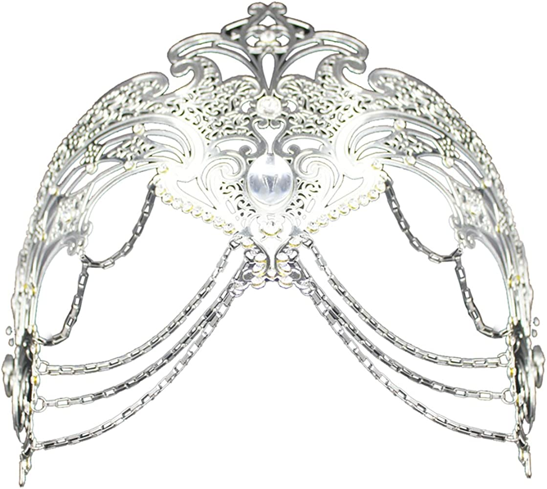 Filigree Metal Gold Shiny Flexible Rhinestones Coxeer Women/'s Masquerade Mask