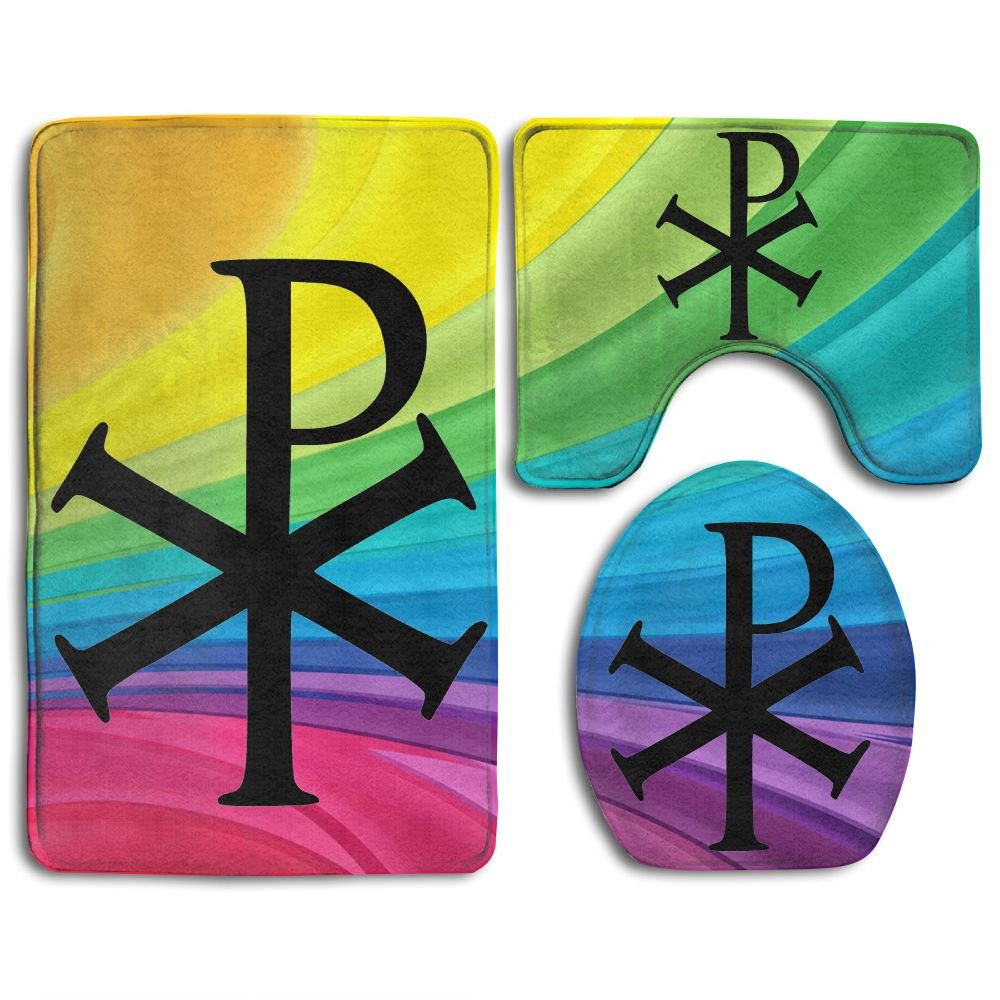 7 Christian Symbols Fashion Bath Mat Set Bathroom Accessories Bath Rug Sets 3 Piece