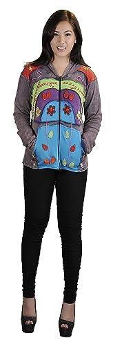 De la Mujer Multicolor piedra lavada de algodón Cardigan con adjuntar Hood y bordado de flores