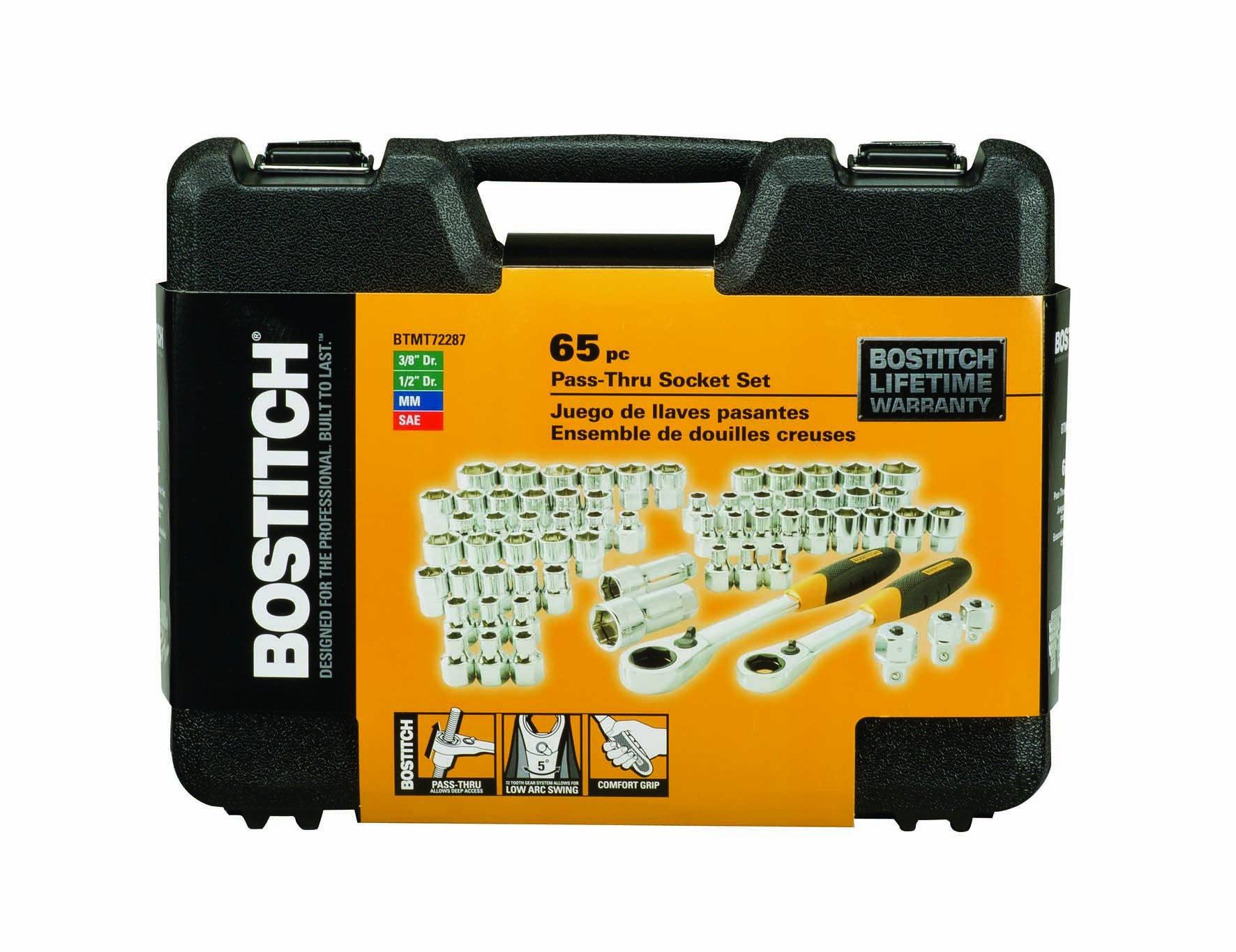 BOSTITCH BTMT72287 Pass Through Socket Set, 65-Piece