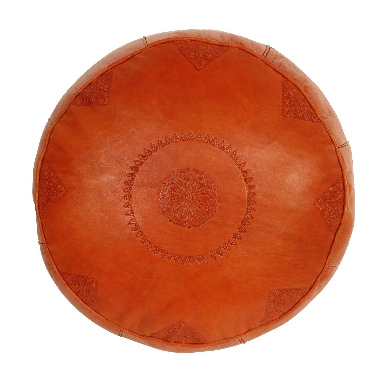 Kunsthandwerk aus Marrakesch Casa Moro Marokkanisches Leder-Sitzkissen orientalischer Pouf Rbati Orange Gross H/öhe 32 cm x Durchmesser 50 cm inklusive formstabiler F/üllung MO4148
