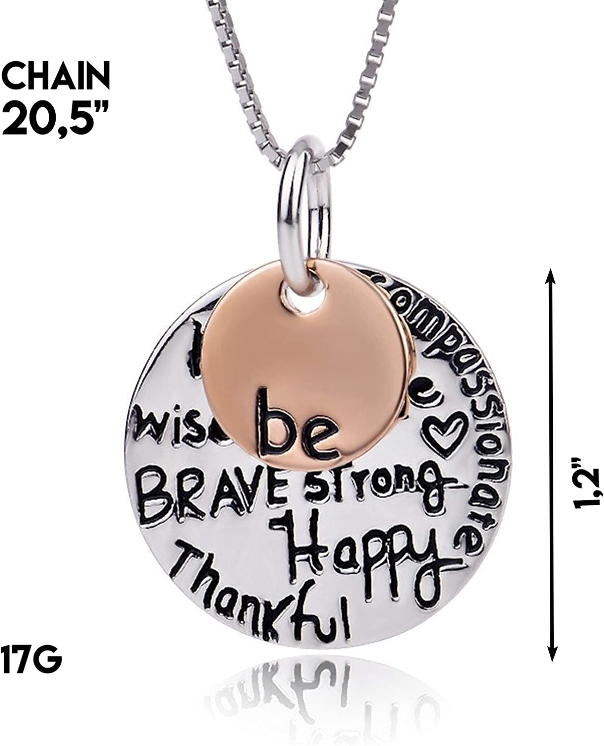 Meaningful Jewelry Unique Pendant for Fathers Day Strong is Beautiful Motivational Presents Sterling Silver Grand Kettlebell Necklace