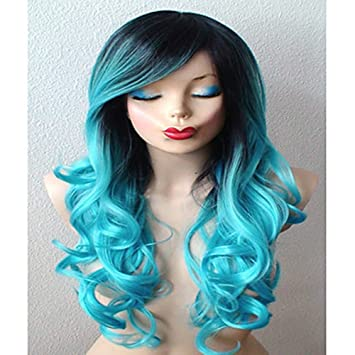 Amazon.com   Ombre Party Wigs for Women Long Curly Dark Roots Blue Multi  Color Wavy Lolita Wig Anime Wigs Durable Fashion Wigs Can Ponytaisl for  Women Daily ... b608d31176