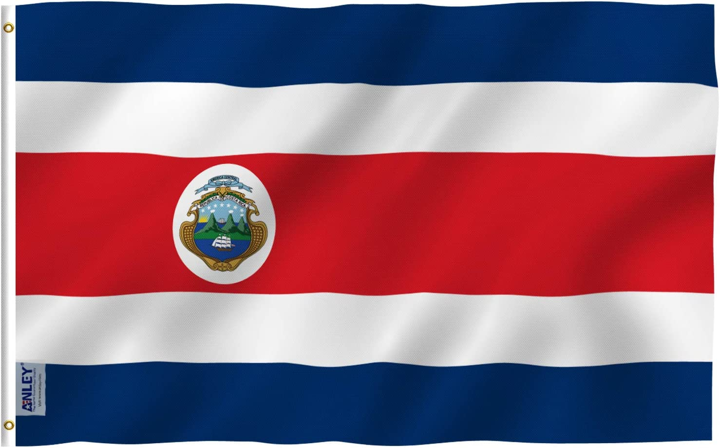 Anley Fly Breeze 3x5 Feet Costa Rica Flag - Vivid Color and Fade Proof - Canvas Header and Double Stitched - The Republic of Costa Rica Flags Polyester with Brass Grommets 3 X 5 Ft
