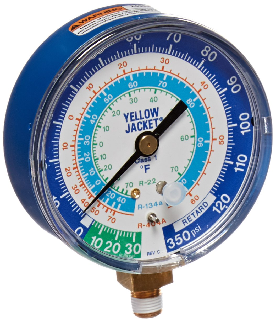 Yellow Jacket 49106 Gauge (degrees F) Blue Compound, 30'-0-120 psi, R-22/134A/404A, 3-1/8' 30-0-120 psi 3-1/8 Fotronic Corporation