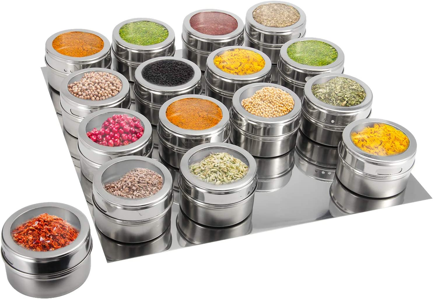 Magnetic Spice Containers Set Of 12 Magnetic Spice Tins Spice Mount Organizer