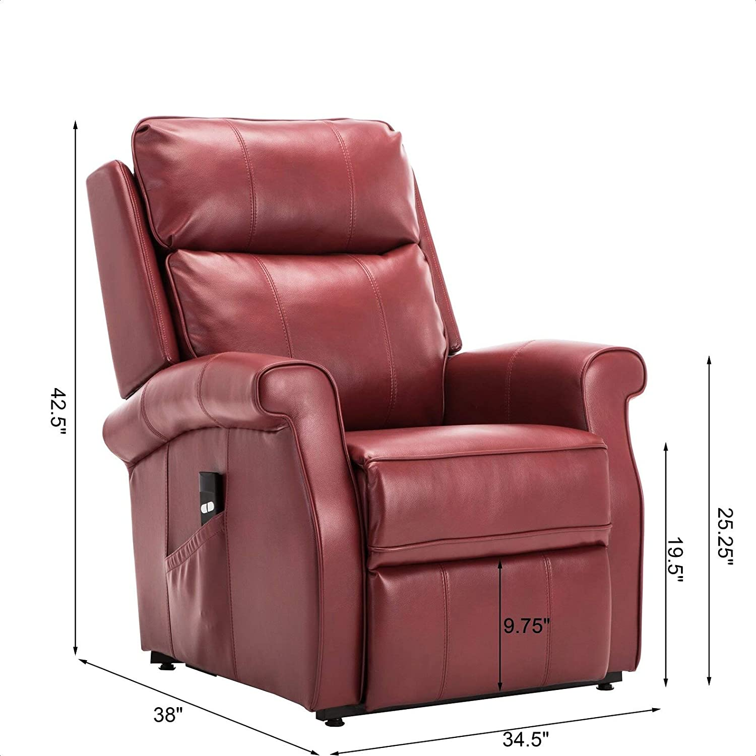 3. Best for Back Pain: Nojus Faux Leather Power Recliner