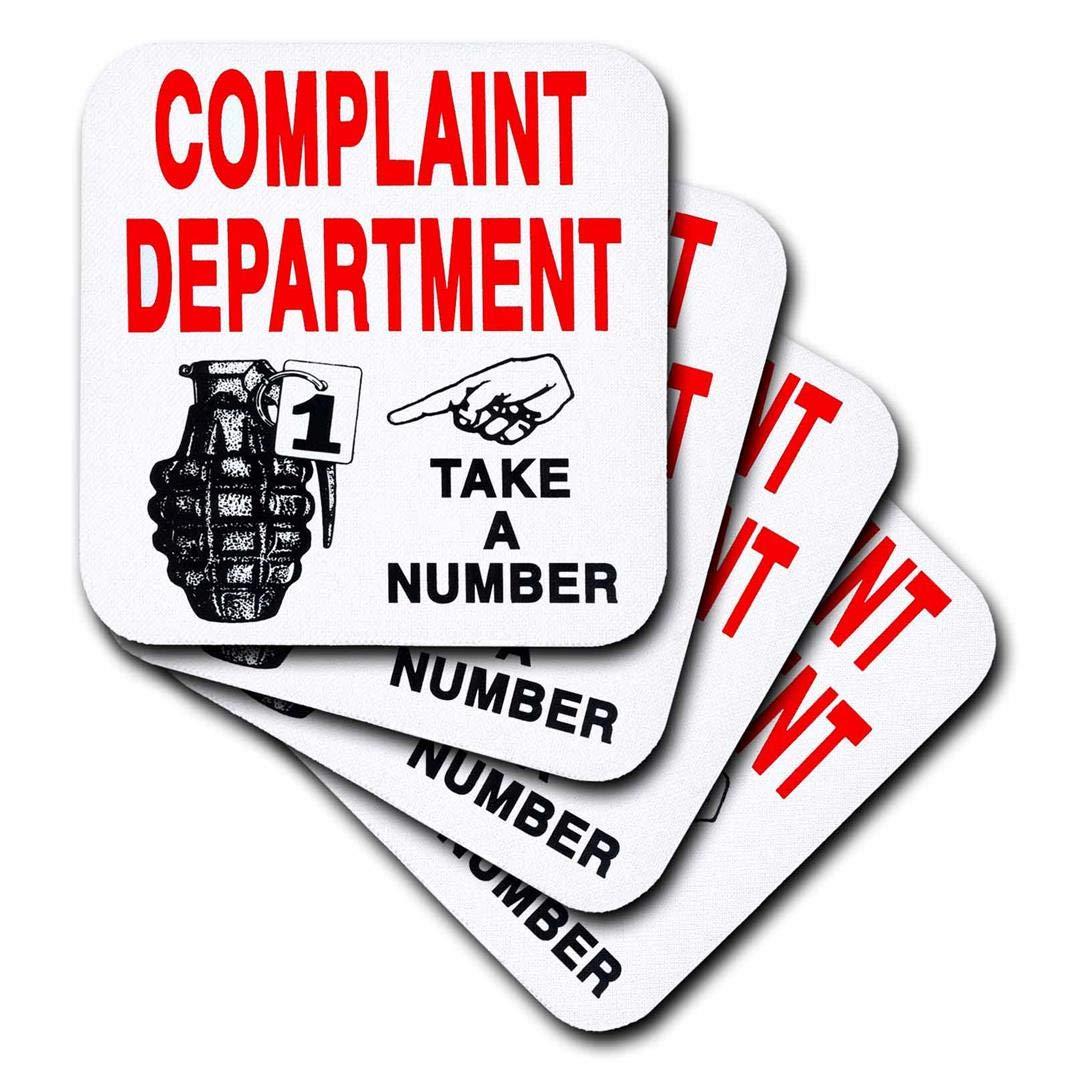 Set of 4 CST/_193464/_1 3dRose Complaint Department - Soft Coasters