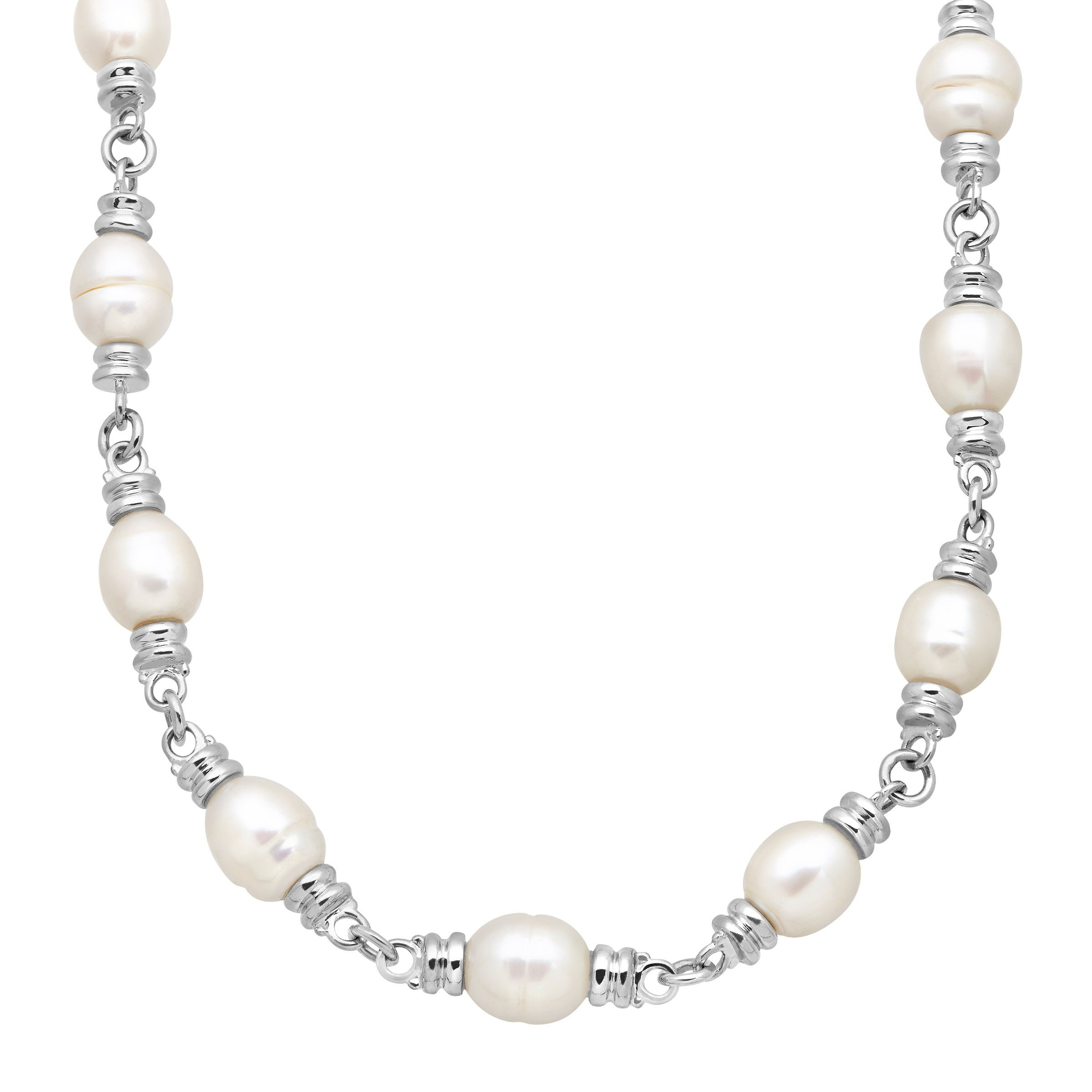 Honora 10-11 mm Freshwater Ringed Cultured Pearl Link Toggle Necklace in Sterling Silver