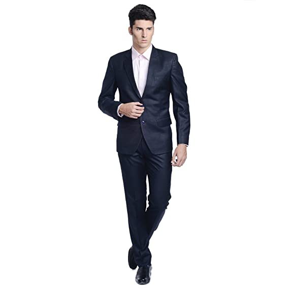 LUXURAZI Mens Minimalistic Dark Grey Formal Suit