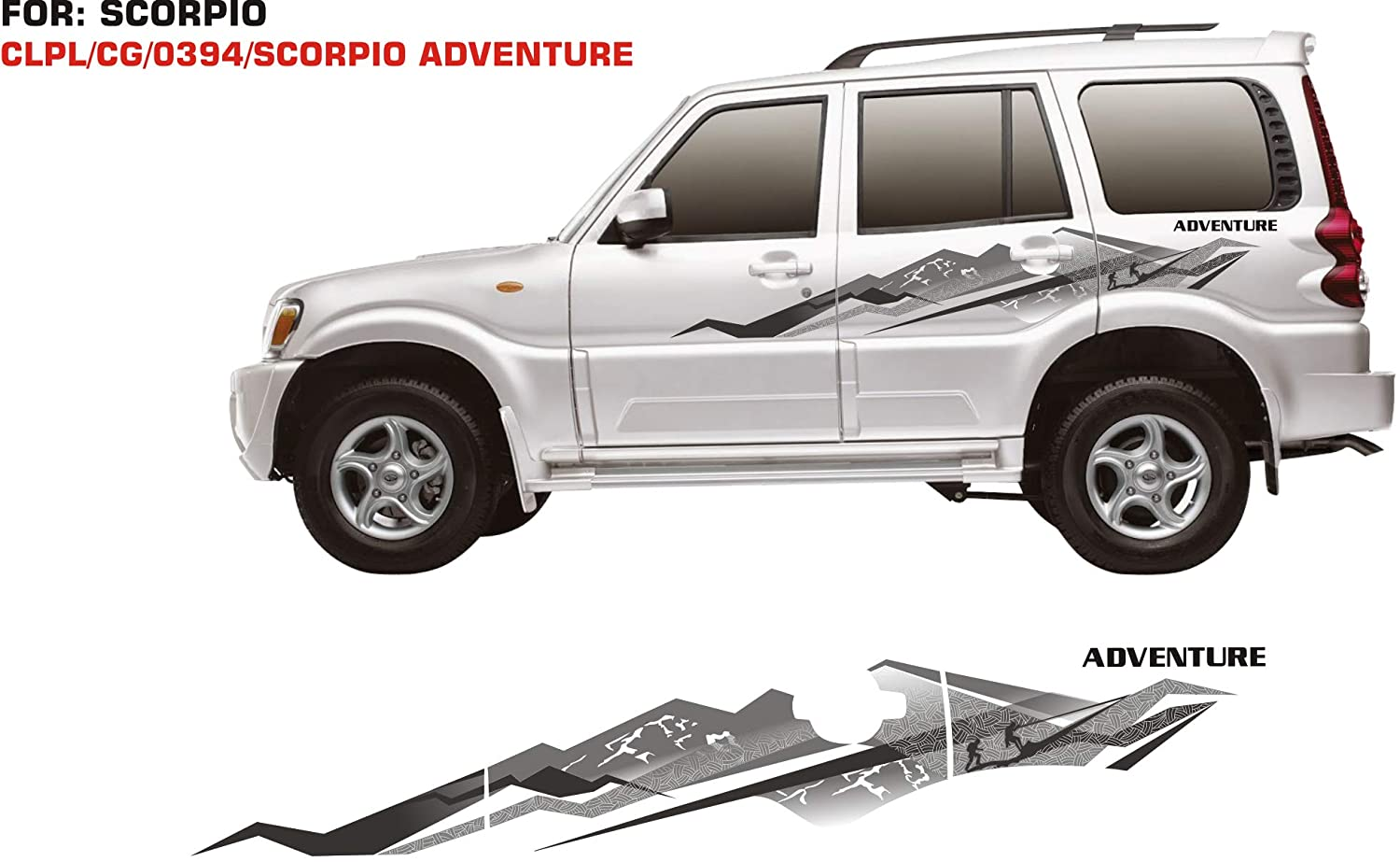 Automaze car side decal full body sticker graphics for scorpio all models multi color both sides adventure graphics 0394 amazon in car motorbike