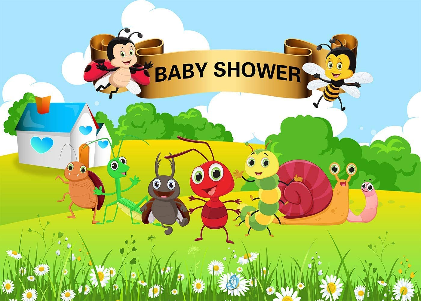 10x6.5ft Baby Shower Background Bee Worm Small Animal Party Photography Backdrop Kids Newborn Photo Props LYFU586