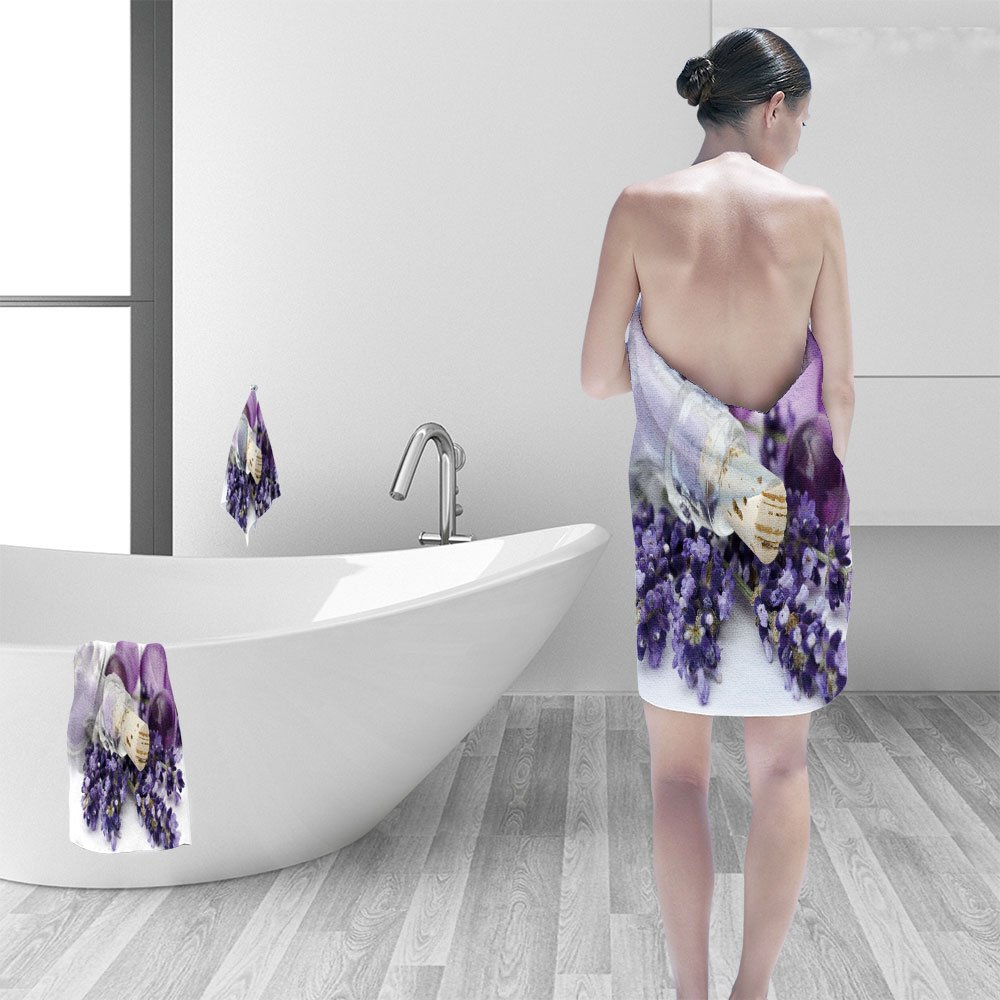 Nalahomeqq Bath towel set lavender spa 3D Digital Printing No Chemical OdorEco-Friendly Non Toxic13.8 x 13.8-11.8''x27.6''-27.6''x55.2''