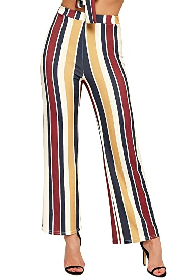 b2b74caf52e WearAll Women s Neon Striped Print Wide Flared Leg Stretch Ladies Palazzo  Trousers - Wine - US